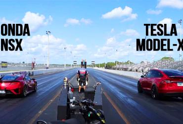 [วิดีโอ] แดร็กแบทเทิล – HONDA NSX ปะทะ TESLA MODEL X